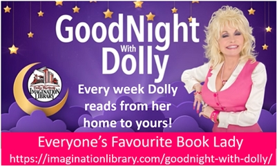"""IMAGINATION LIBRARY brings """"GoodNight with Dolly"""" BEDTIME STORIES"""