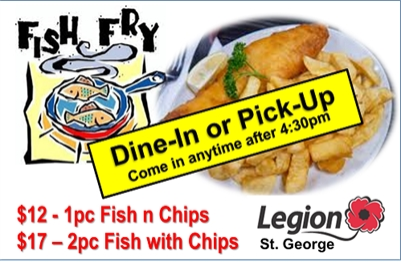 St. George Legion - CURBSIDE & DINE-IN FISH FRY - Sat., Nov. 6th