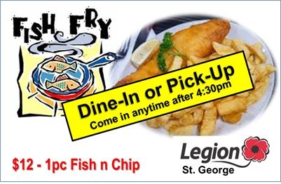 St. George Legion - CURBSIDE FISH FRY - Sat., Aug. 7